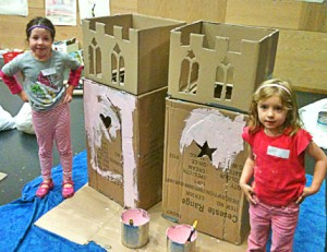 two best friends make a princess castle together
