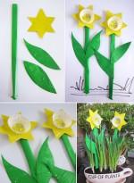 paper plate cupcake daffodils