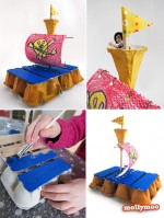 Land Ho!! egg carton raft craft