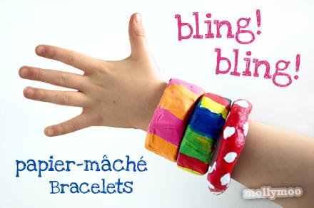MollyMooCrafts Papier Mache Bracelets