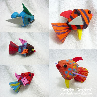 egg carton craft fish