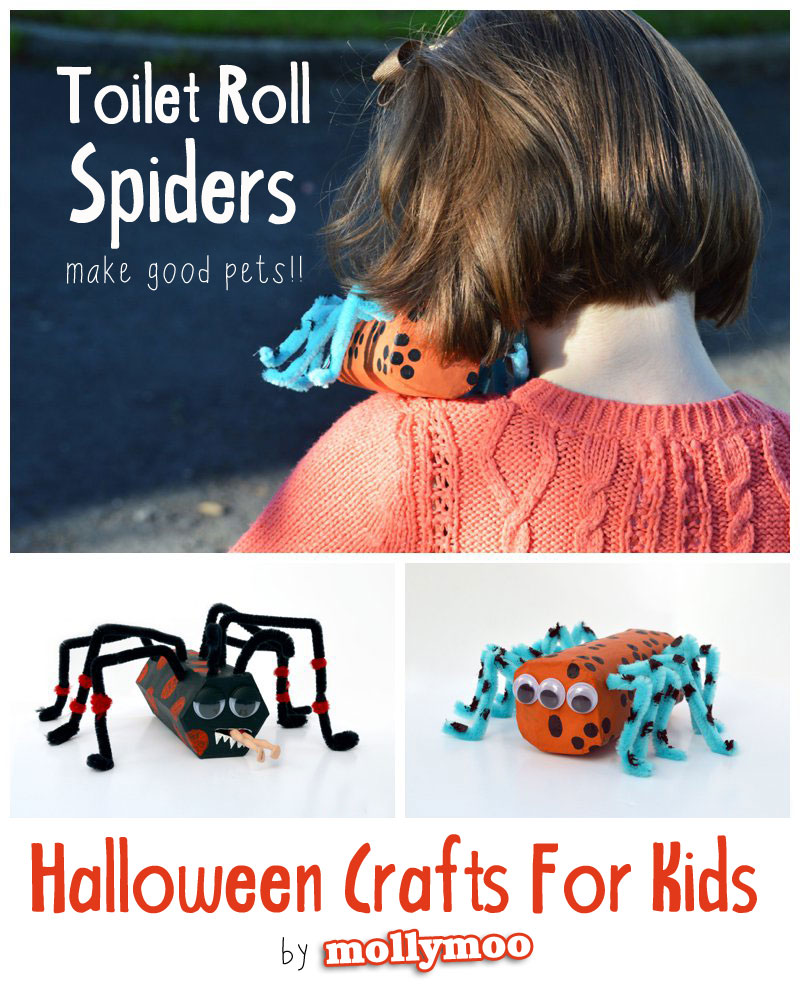 halloween craft for kids - toilet roll spiders