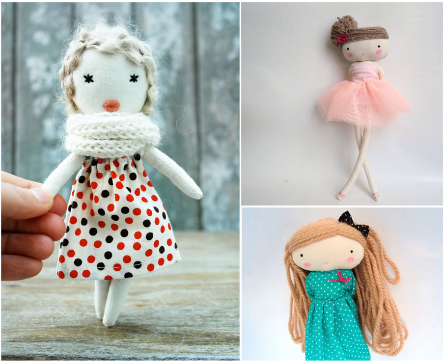 round up of handmade softies and dolls