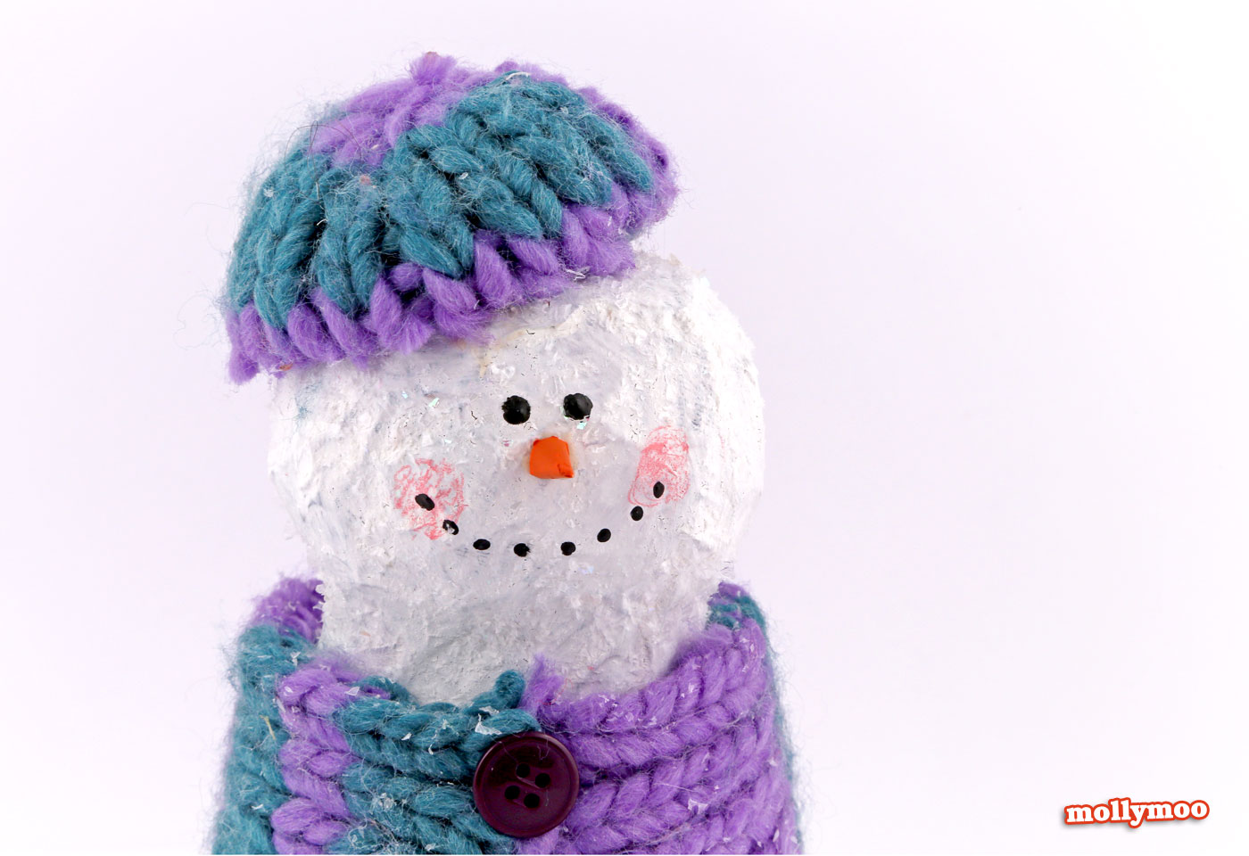 papier mache snowman, christmas crafts for kids