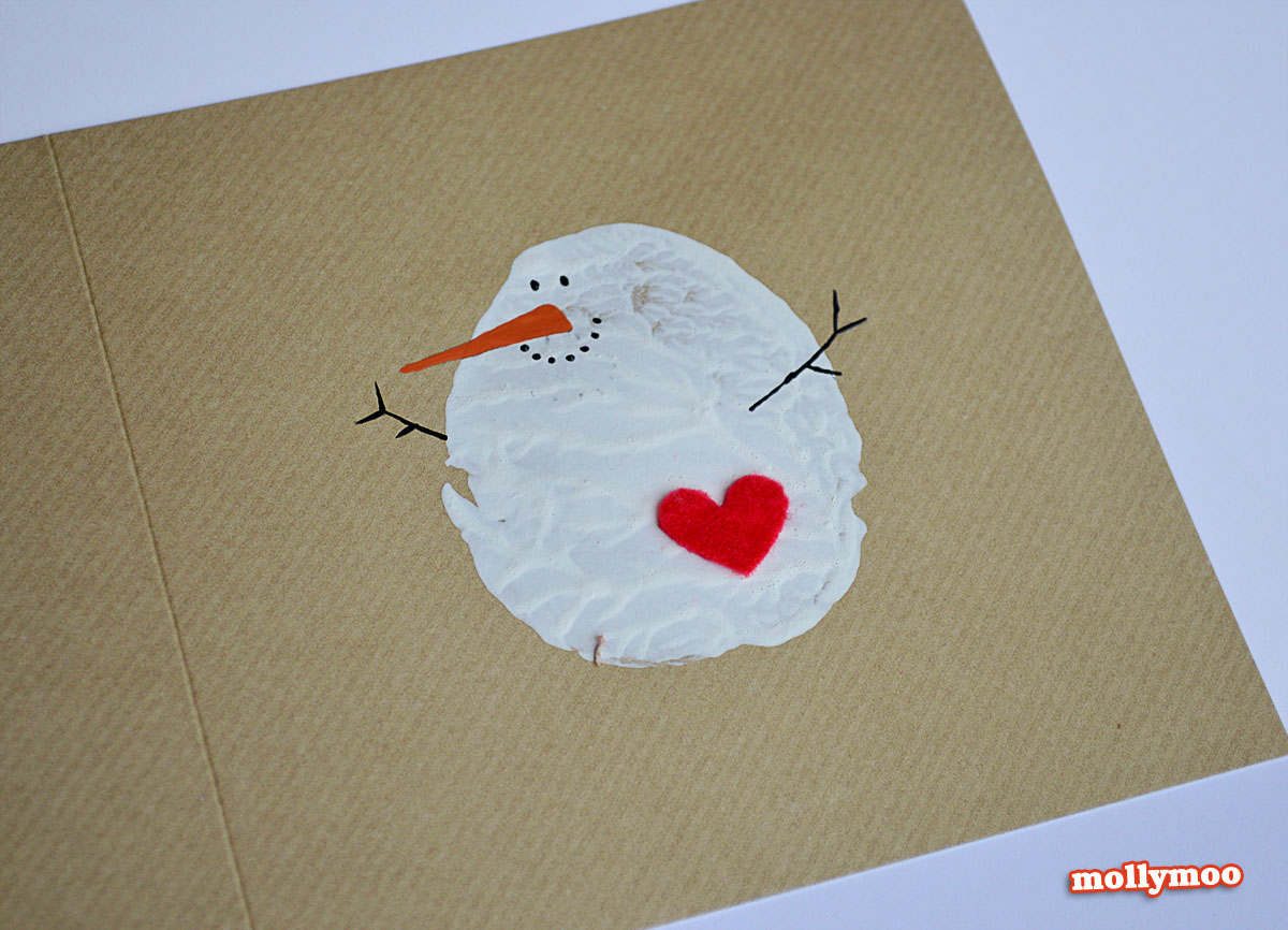 MollyMooCrafts DIY Christmas Cards - potato printed snowman