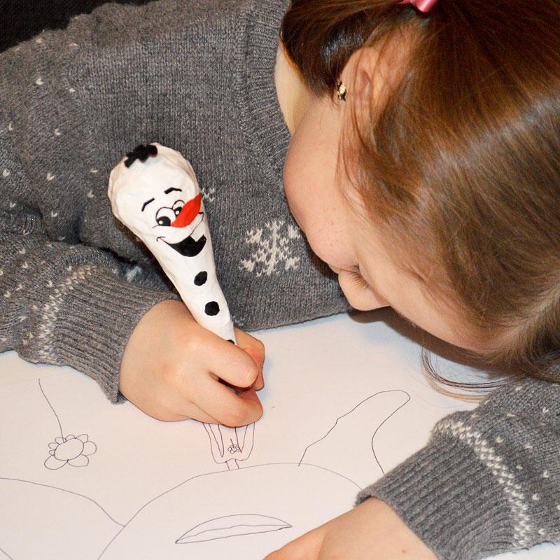 how to make a papier mache snowman pen
