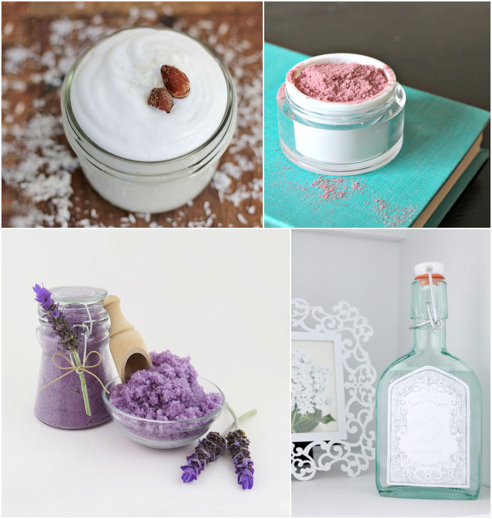 round up of homemade scrubs, body creams, lip balms, beauty treatments