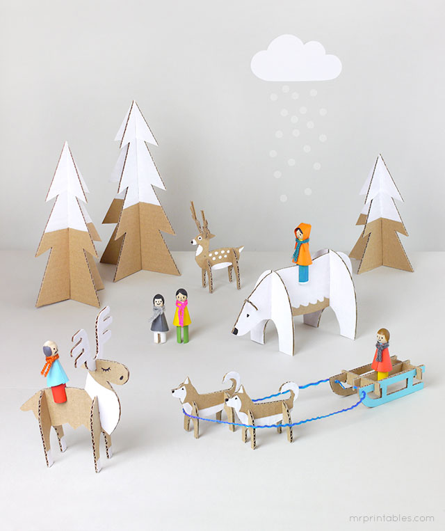 winter wonderland playset free printables