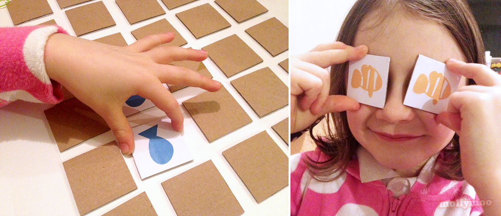 DIY matching pairs game recycled cardboard by Michelle McInerney of MollyMoo
