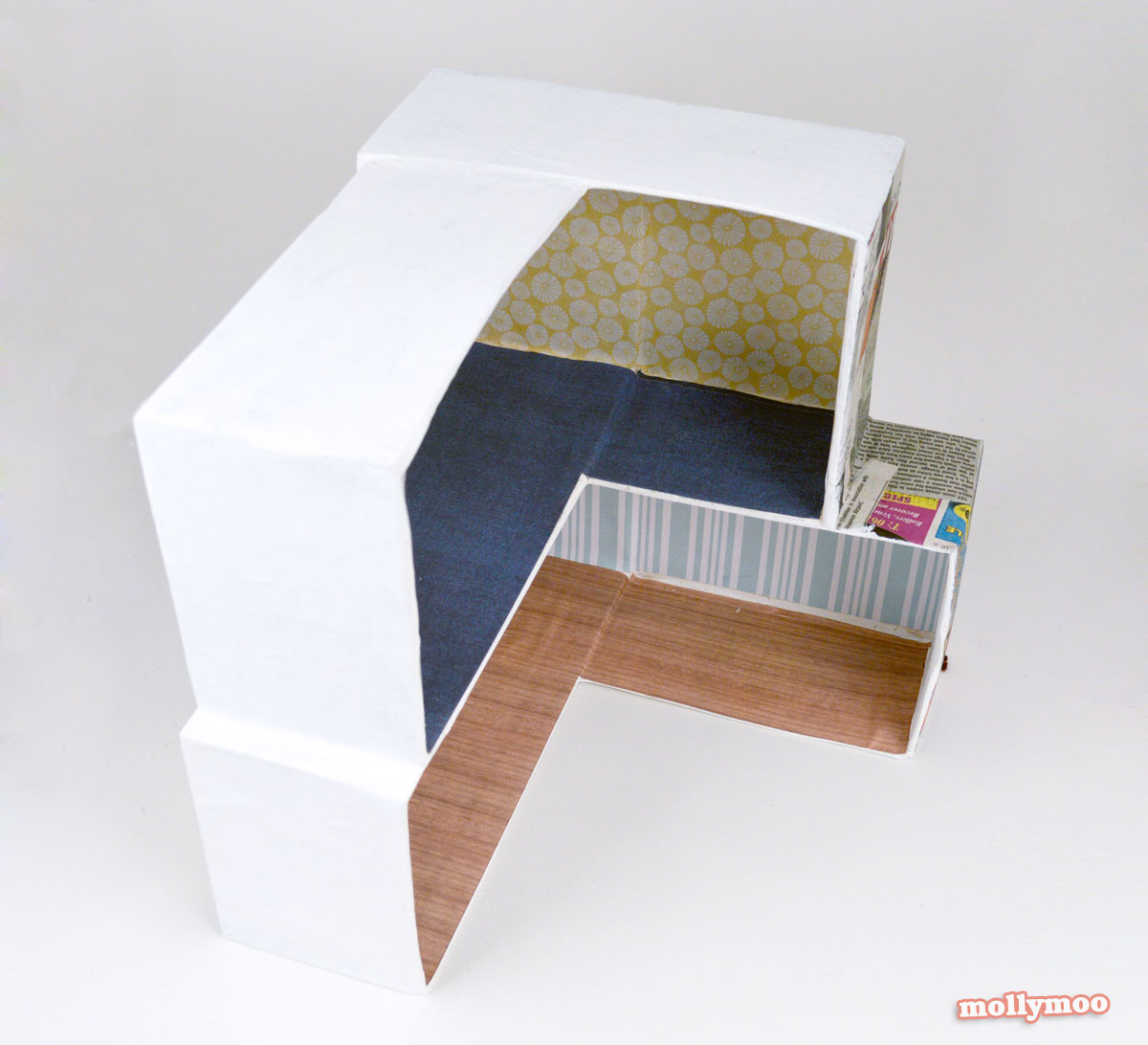 DIY cardboard dollshouse by Michelle McInerney of MollyMoo