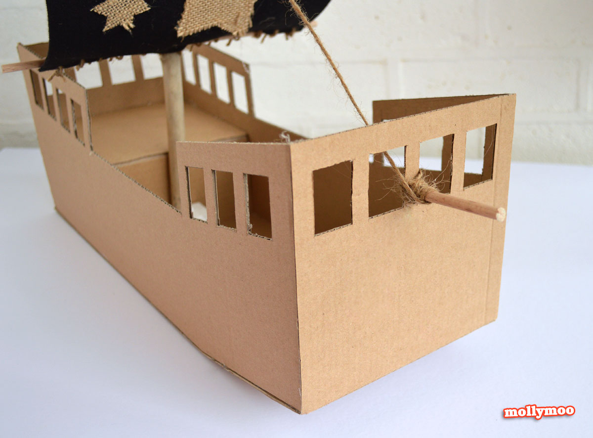 DIY cardboard pirate ship by Michelle McInerney of MollyMoo