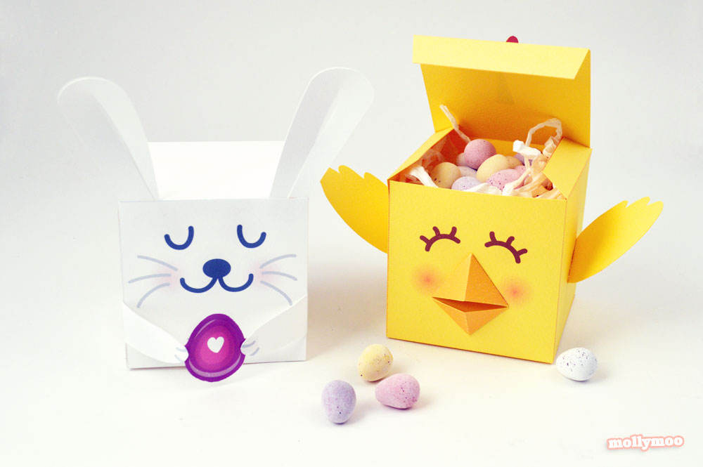 Free printable easter treat boxes by Michelle McInereny of MollyMoo