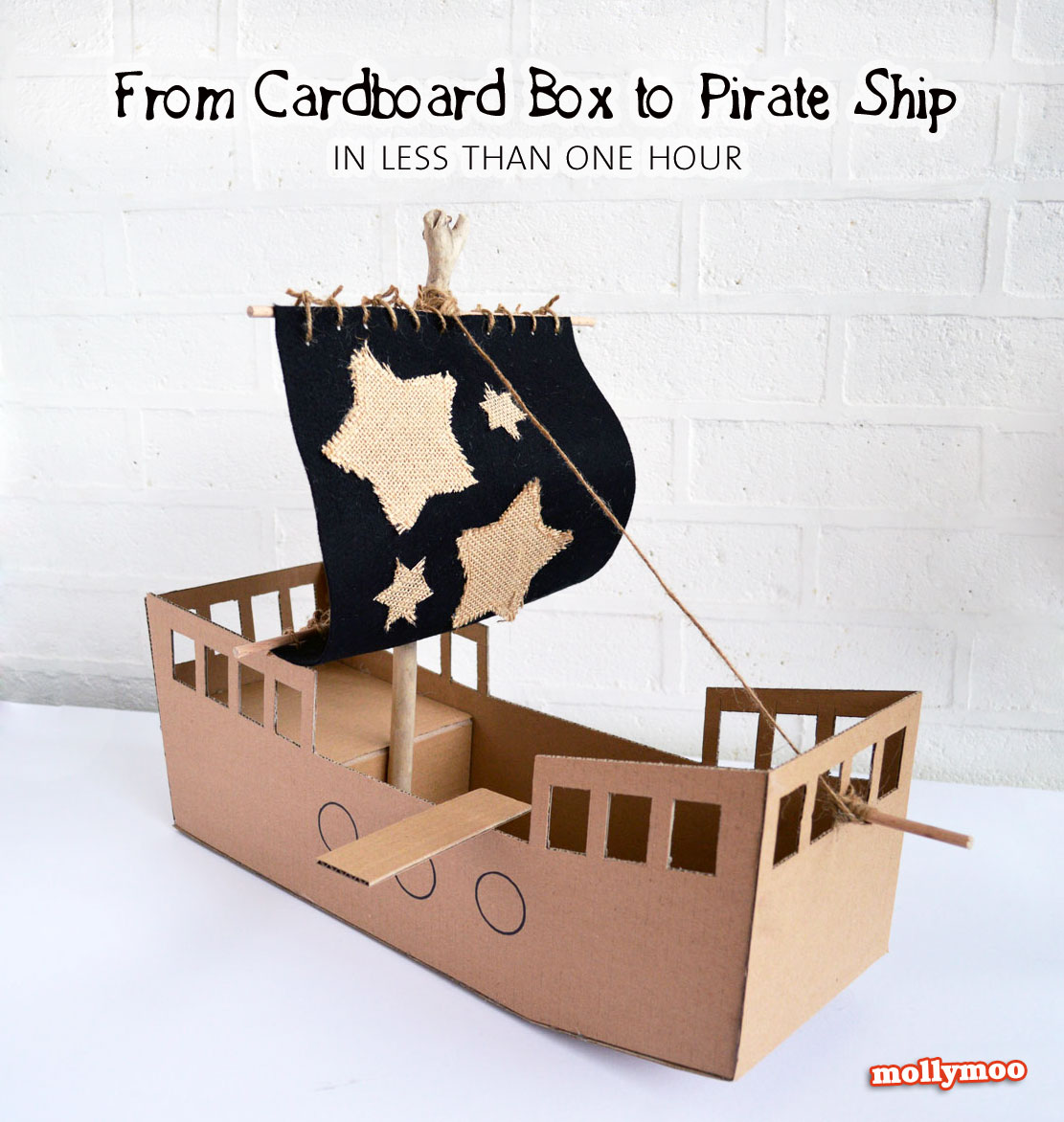 MollyMooCrafts DIY Cardboard Pirate Ship - craft tutorial