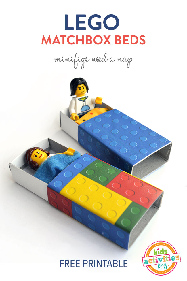 Lego Matchbox Beds with free printable by Michelle McInerney of MollyMooCrafts.com for KidsActivitiesBlog