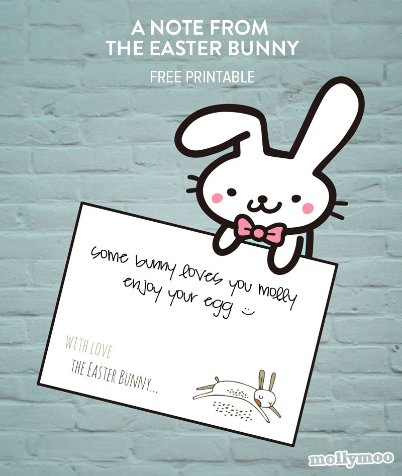 free printable easter bunny note designed by michelle mcinerney mollymoocraftscom