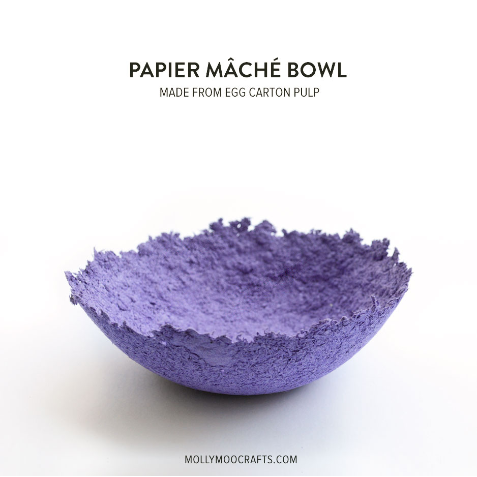 mollymoocrafts papier mache bowls make from egg carton pulp