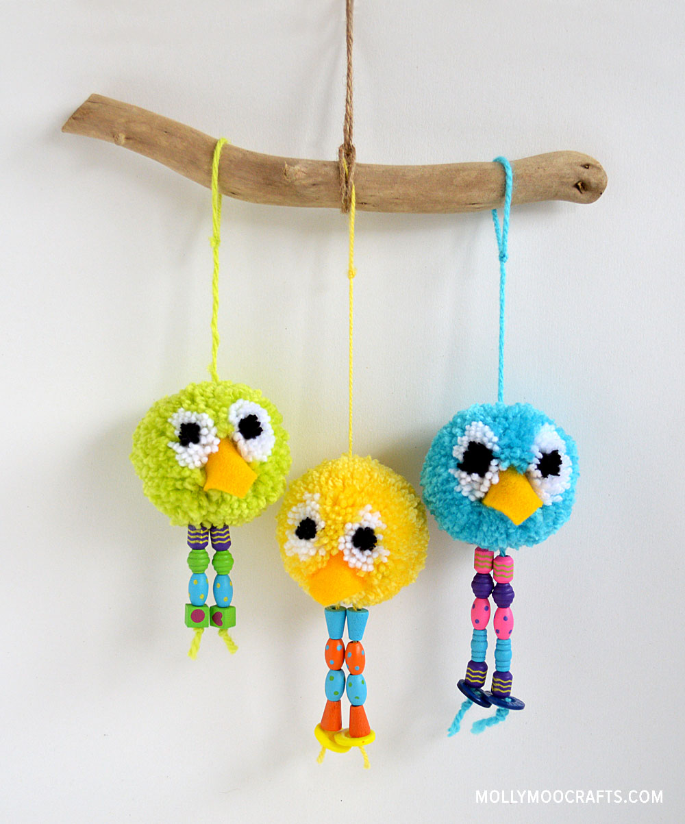 pom pom bird craft by michelle McInerney of mollymoocrafts.com