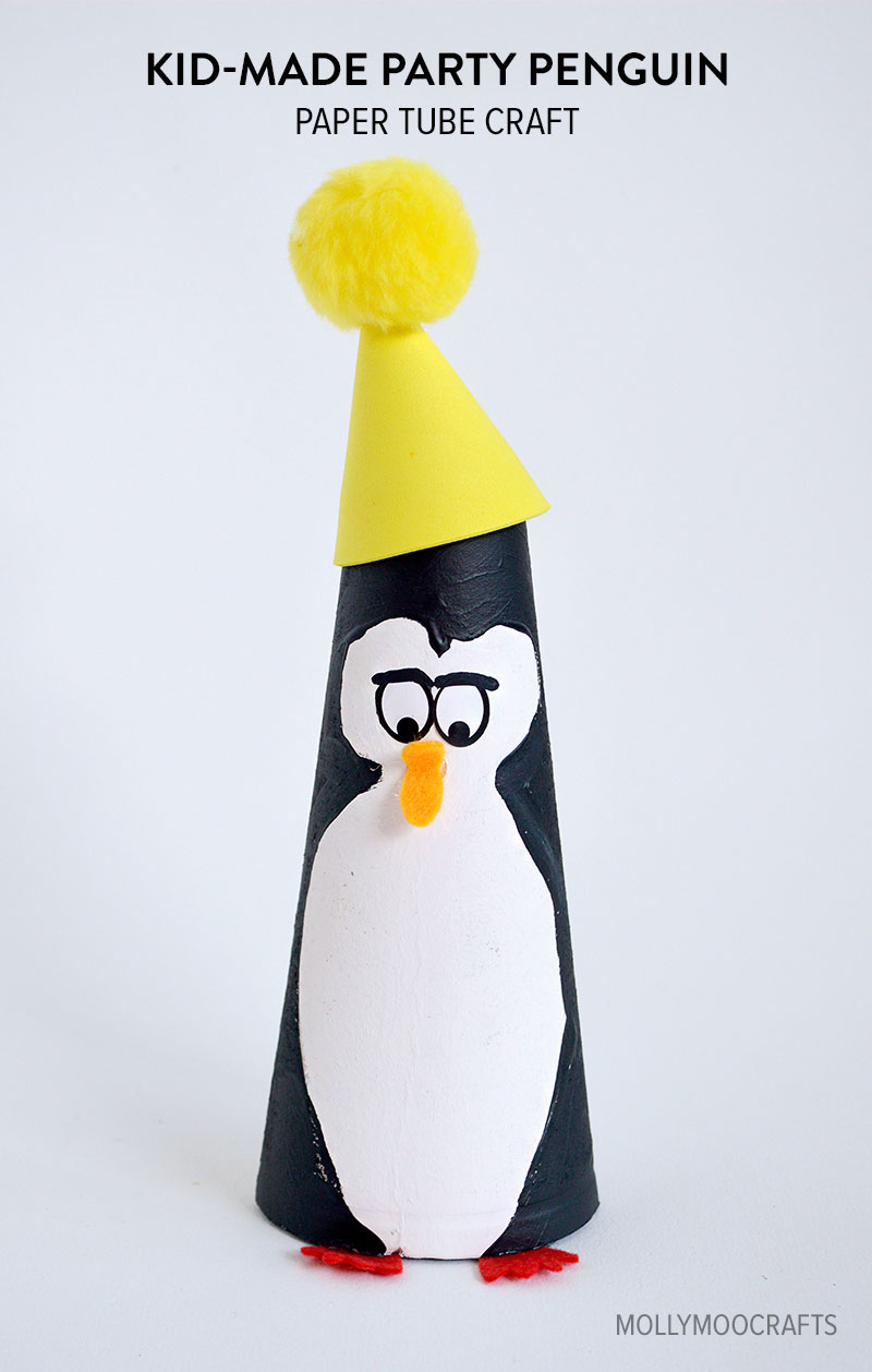 paper tube penguin craft for kids