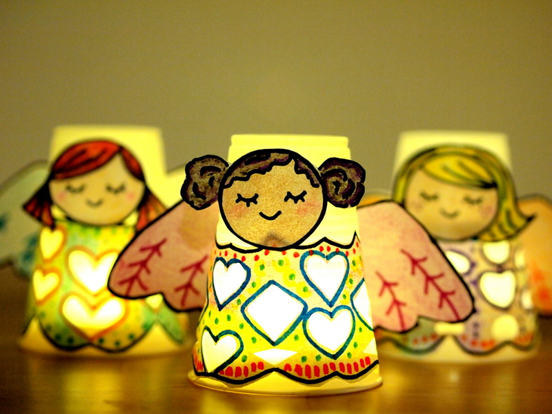 glowing paper cup angel luminaries