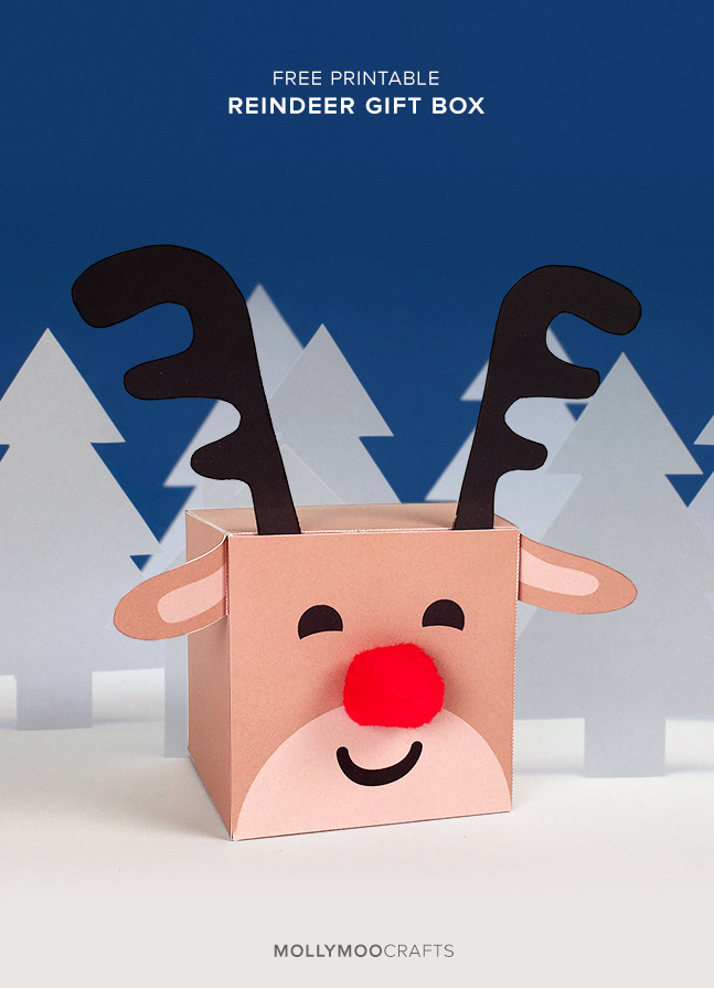 graphic relating to Pin the Nose on the Reindeer Printable identify MollyMooCrafts Free of charge Printables: Reindeer Handle Box