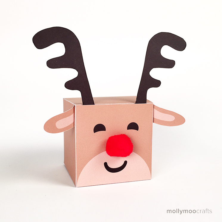 graphic about Pin the Nose on the Reindeer Printable identified as MollyMooCrafts Absolutely free Printables: Reindeer Deal with Box