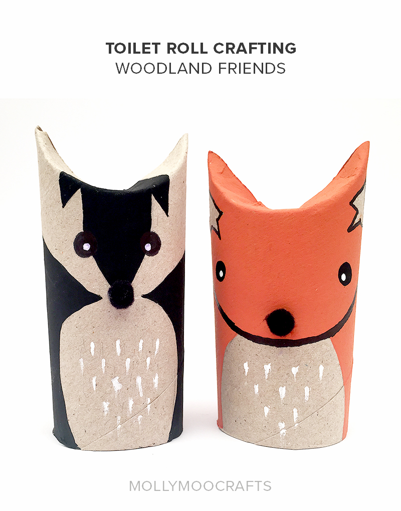 mollymoocrafts toilet roll crafts - woodland friends