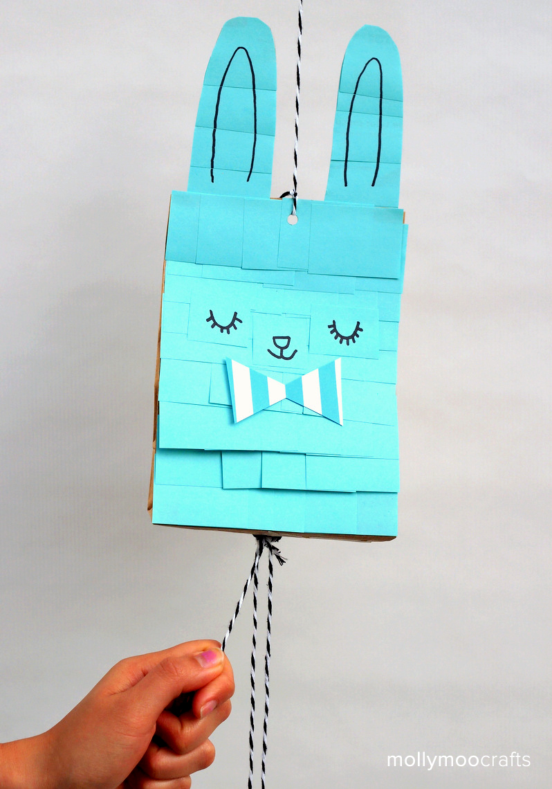 Mollymoocrafts Easy Easter Bunny Craft Paper Bag Pinata